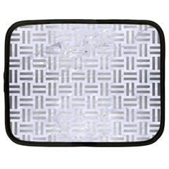 Woven1 White Marble & Silver Brushed Metal (r) Netbook Case (large)