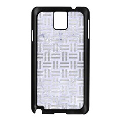 Woven1 White Marble & Silver Brushed Metal (r) Samsung Galaxy Note 3 N9005 Case (black)