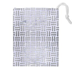 Woven1 White Marble & Silver Brushed Metal (r) Drawstring Pouches (xxl)