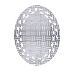 Woven1 White Marble & Silver Brushed Metal Oval Filigree Ornament (two Sides)