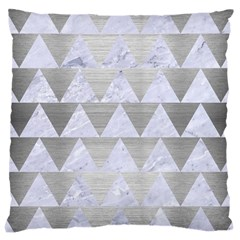 Triangle2 White Marble & Silver Brushed Metal Large Cushion Case (one Side)