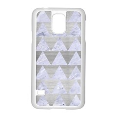 Triangle2 White Marble & Silver Brushed Metal Samsung Galaxy S5 Case (white)