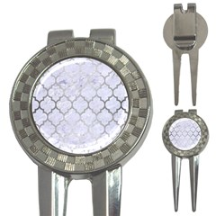 Tile1 White Marble & Silver Brushed Metal (r) 3 In 1 Golf Divots