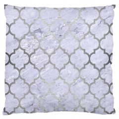 Tile1 White Marble & Silver Brushed Metal (r) Large Cushion Case (one Side)