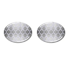 Tile1 White Marble & Silver Brushed Metal Cufflinks (oval)