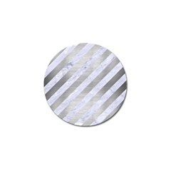 Stripes3 White Marble & Silver Brushed Metal (r) Golf Ball Marker (4 Pack)