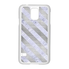 Stripes3 White Marble & Silver Brushed Metal Samsung Galaxy S5 Case (white)