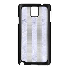 Stripes1 White Marble & Silver Brushed Metal Samsung Galaxy Note 3 N9005 Case (black)