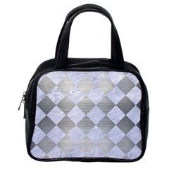 Square2 White Marble & Silver Brushed Metal Classic Handbags (one Side)