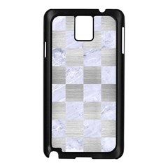 Square1 White Marble & Silver Brushed Metal Samsung Galaxy Note 3 N9005 Case (black)