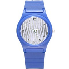 Skin4 White Marble & Silver Brushed Metal Round Plastic Sport Watch (s)