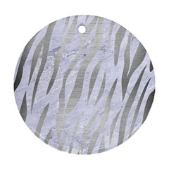 Skin3 White Marble & Silver Brushed Metal (r) Ornament (round)