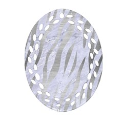 Skin3 White Marble & Silver Brushed Metal (r) Oval Filigree Ornament (two Sides)