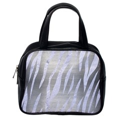 Skin3 White Marble & Silver Brushed Metal Classic Handbags (one Side)