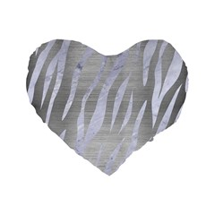 Skin3 White Marble & Silver Brushed Metal Standard 16  Premium Heart Shape Cushions