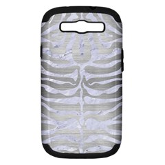 Skin2 White Marble & Silver Brushed Metal Samsung Galaxy S Iii Hardshell Case (pc+silicone)