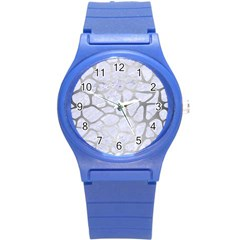 Skin1 White Marble & Silver Brushed Metal Round Plastic Sport Watch (s)