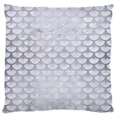Scales3 White Marble & Silver Brushed Metal (r) Large Cushion Case (one Side)