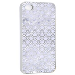 Scales2 White Marble & Silver Brushed Metal (r) Apple Iphone 4/4s Seamless Case (white)