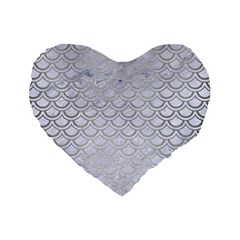 Scales2 White Marble & Silver Brushed Metal (r) Standard 16  Premium Heart Shape Cushions