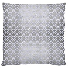 Scales2 White Marble & Silver Brushed Metal Large Cushion Case (one Side)