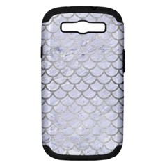 Scales1 White Marble & Silver Brushed Metal (r) Samsung Galaxy S Iii Hardshell Case (pc+silicone)