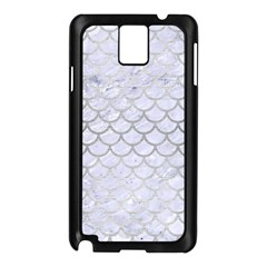 Scales1 White Marble & Silver Brushed Metal (r) Samsung Galaxy Note 3 N9005 Case (black)