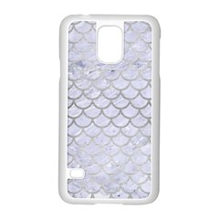 Scales1 White Marble & Silver Brushed Metal (r) Samsung Galaxy S5 Case (white)