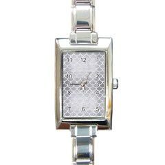 Scales1 White Marble & Silver Brushed Metal Rectangle Italian Charm Watch