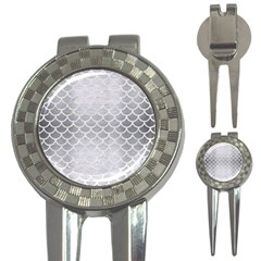 Scales1 White Marble & Silver Brushed Metal 3 In 1 Golf Divots