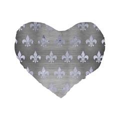 Royal1 White Marble & Silver Brushed Metal (r) Standard 16  Premium Heart Shape Cushions