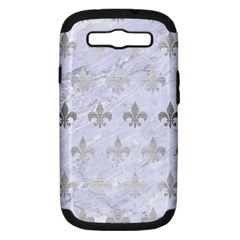 Royal1 White Marble & Silver Brushed Metal Samsung Galaxy S Iii Hardshell Case (pc+silicone)
