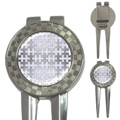 Puzzle1 White Marble & Silver Brushed Metal 3 In 1 Golf Divots
