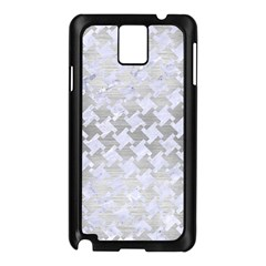 Houndstooth2 White Marble & Silver Brushed Metal Samsung Galaxy Note 3 N9005 Case (black)