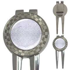Hexagon1 White Marble & Silver Brushed Metal (r) 3 In 1 Golf Divots
