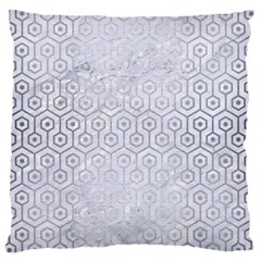 Hexagon1 White Marble & Silver Brushed Metal (r) Large Cushion Case (one Side)
