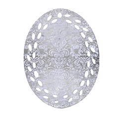 Damask2 White Marble & Silver Brushed Metal Oval Filigree Ornament (two Sides)