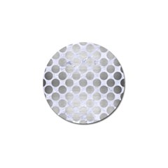 Circles2 White Marble & Silver Brushed Metal (r) Golf Ball Marker (10 Pack)
