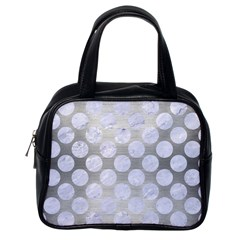 Circles2 White Marble & Silver Brushed Metal Classic Handbags (one Side)
