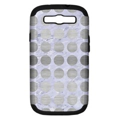 Circles1 White Marble & Silver Brushed Metal (r) Samsung Galaxy S Iii Hardshell Case (pc+silicone)