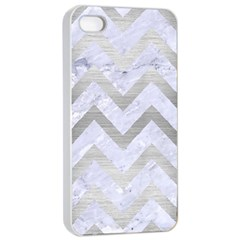 Chevron9 White Marble & Silver Brushed Metal (r) Apple Iphone 4/4s Seamless Case (white)
