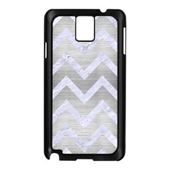 Chevron9 White Marble & Silver Brushed Metal Samsung Galaxy Note 3 N9005 Case (black)