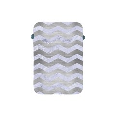 Chevron3 White Marble & Silver Brushed Metal Apple Ipad Mini Protective Soft Cases