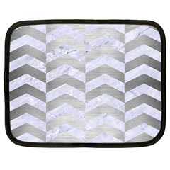 Chevron2 White Marble & Silver Brushed Metal Netbook Case (large)