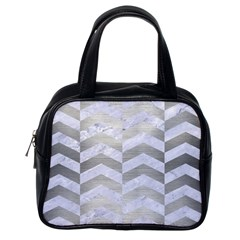 Chevron2 White Marble & Silver Brushed Metal Classic Handbags (one Side)