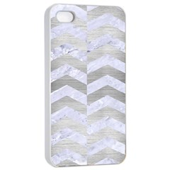 Chevron2 White Marble & Silver Brushed Metal Apple Iphone 4/4s Seamless Case (white)