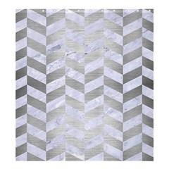 Chevron1 White Marble & Silver Brushed Metal Shower Curtain 66  X 72  (large)