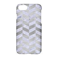 Chevron1 White Marble & Silver Brushed Metal Apple Iphone 7 Hardshell Case