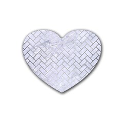 Brick2 White Marble & Silver Brushed Metal (r) Rubber Coaster (heart)
