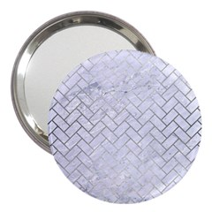 Brick2 White Marble & Silver Brushed Metal (r) 3  Handbag Mirrors